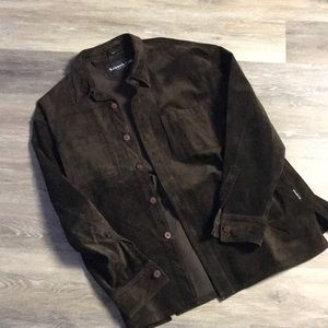 Kenneth Cole Brown Suede Button Up Jecket sz Large